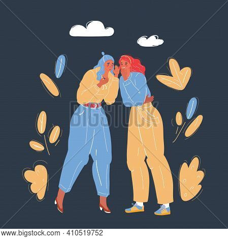 Vector Illustration Of Women Talk To Each Other. Gossip And Rumors Talks On Dark Backround.