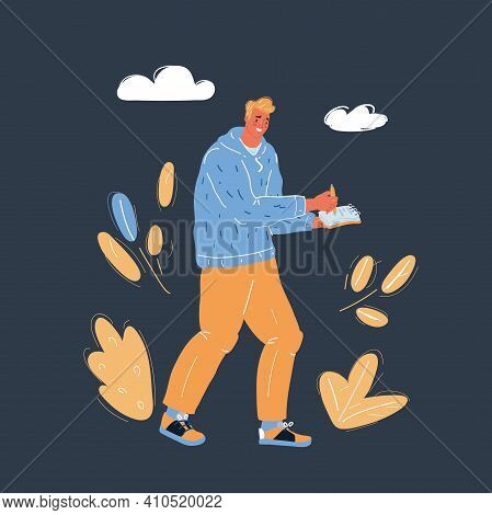Vector Illustration Of Reporter With Writing-pad On Dark Backround.