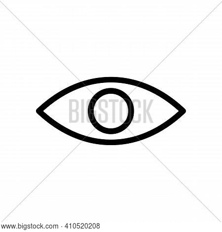 The Black Linear Icon Of Eye Without A Pupil. Outline Optic Illustration . Pictogram For Web Page, M