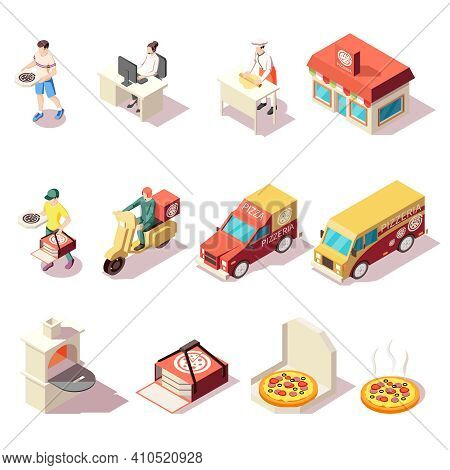 Pizza Production Pizzeria Isometric Set Of Isolated Icons With Courier Characters Package Boxes And