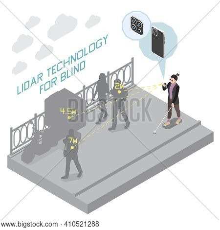 Technology For Disabled People Isometric Composition With View Of Lidar Technology For Blind People