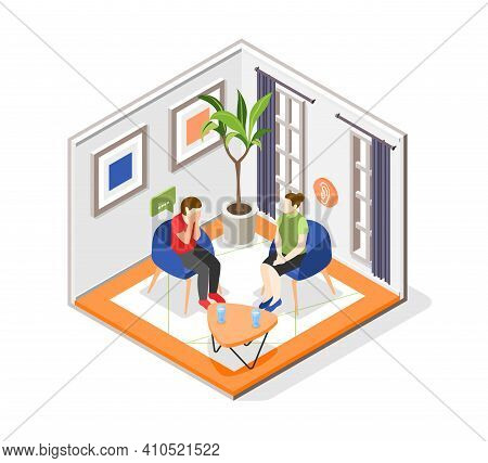 Mutual Help Isometric Concept With Psychological Aid Symbols Vector Illustration