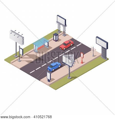 Isometric Composition With Various Advertising Constructions Along Road 3d Vector Illustration