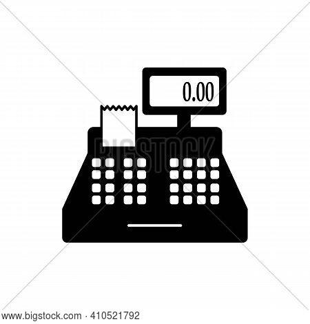 Cash Register Line Icon In Solid Black. Machine, Counter, Cashier. Ecommerce Concept. Simple Illustr