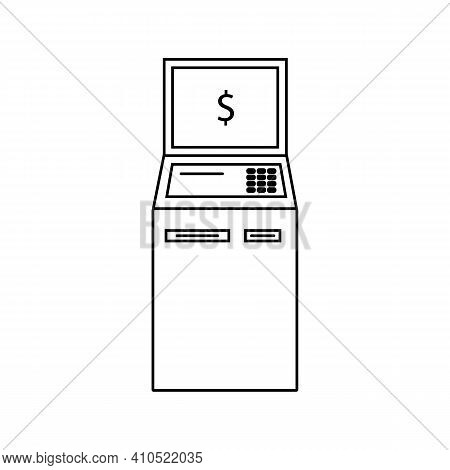 Bank Terminal Line Icon In Black. Payment Machine Logo. Outline Payment Concept. Trendy Flat Style I