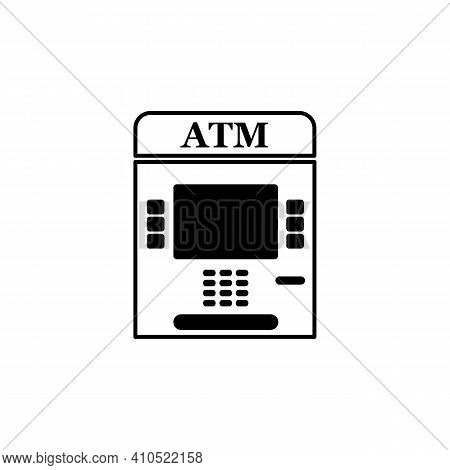 Atm Bank Line Icon In Black. Payment Machine Logo. Outline Payment Concept. Trendy Flat Style Illust