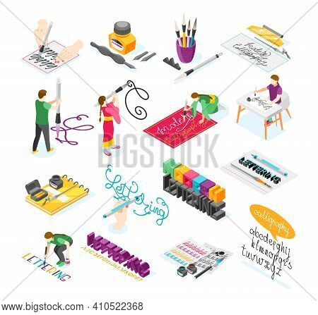 Hobby Calligraphy Isometric Icons Set Of Creative People Practicing In Spelling Lettering And Callig