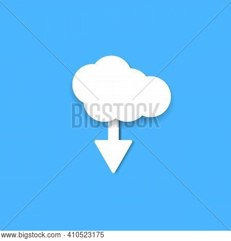 Cloud Storage With Arrow Line Icon Colored Cartoon Flat Isolated Illustration On Blue Background. Cl