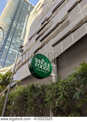 Honolulu - February 8, 2019:  Whole Food Market Sign. Whole Foods Is An American Foods Supermarket C