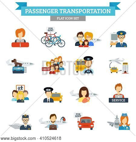 Passenger Transportation Icon Flat Set With Transport Drivers And Passengers Isolated Vector Illustr