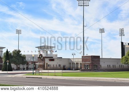 SURPRISE, ARIZONA - NOVEMBER 24, 2016: Surprise Stadium Main Entrance. The facility is the Spring Training home of both the Texas Rangers and Kansas City Royals of MLB's American League.