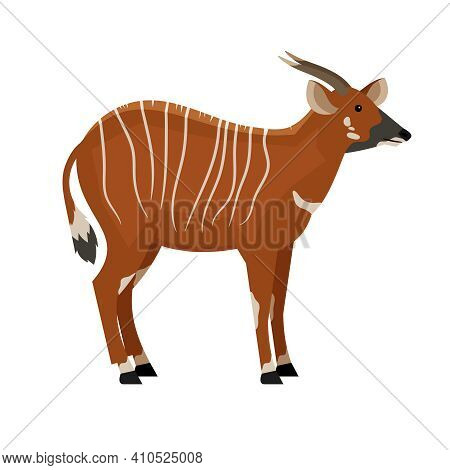 Hoofed Animal With Horns. Cartoon Symbol Of Hunting, Exotic Beast Of Wildlife, Vector Illustration O