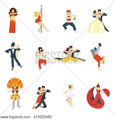Social Dancing Festival Elegant Waltz Tango Oriental Dance Icon Flat Set Isolated Vector Illustratio