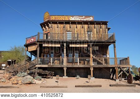 APACHE JUNCTION, ARIZONA - DECEMBER 8, 2016: Peterson's Mercantile at the Goldfield Ghost Town, in Apache Junction, Arizona, off of Route 88.