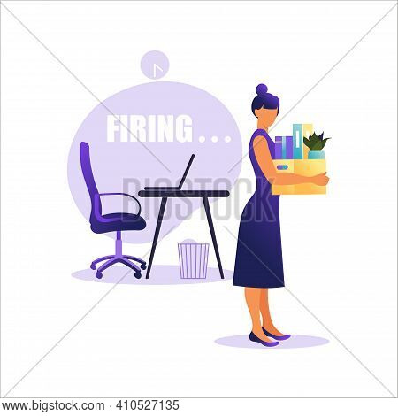 Vector Illustration Of Firing Employee. Woman Standing With Offices Box With Things. Unemployment Co