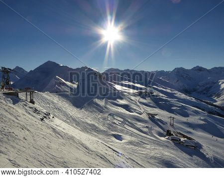 Davos Klosters Jakobshorn Landscape Snow Picture At Winter Time With Beautiful Sun In The Sky, Panor