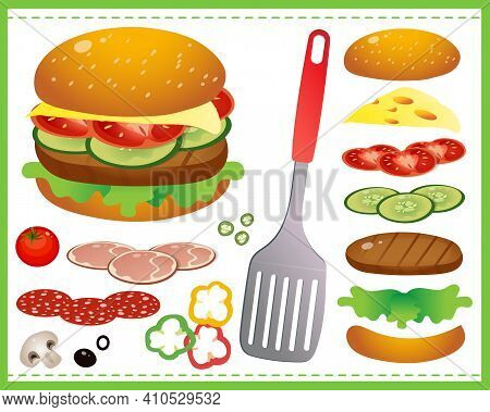 Hamburger Or Cheeseburger With Tomatoes, Cutlet, Beef, Salad And Cheese On A White Background. Food