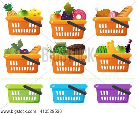 Color Images Of Grocery Basket Or Food Basket With Goods On A White Background. Shop And Purchases.