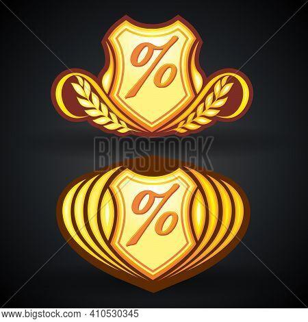 Ogange Percent Protection Logo Icon Design Template. Discount Percent Concept. Vector Illustration.