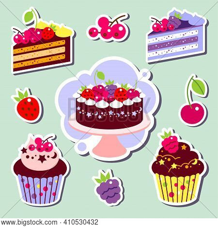 Color Set Of Cakes And Cupcakes, Piece Of Cake. Set Stickers.