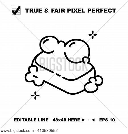 Soap Bar Icon Vector Line Symbol. Wash Hand And Body Hygiene Care Symbol With Foam And Bubble Outlin