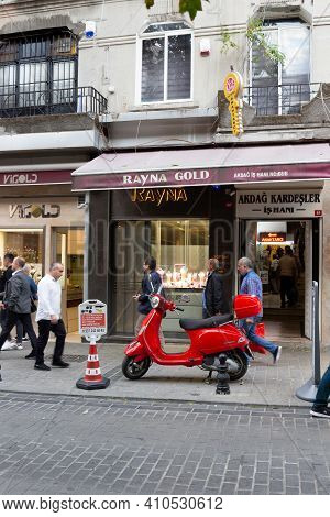 Istanbul, Turkey - October 7, 2019: Vintage Red Vespa Scooter Parked On The Street Of Istanbul. Moti
