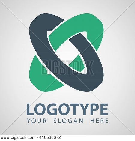 Abstract Gray And Green Rings Company Vector Logo Icon. Cilinder Logo Template Design. Flat Style, M