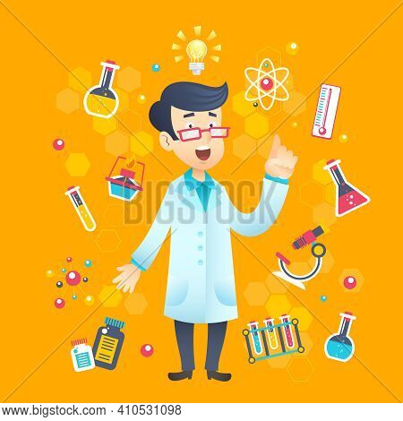 Chemist Scientist Character With Scientific And Education Test Equipment Vector Illustration