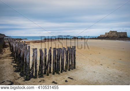 View Of Bon-secours Beach And Grand Bé A Tidal Island Near The Coast Of St-malo, France