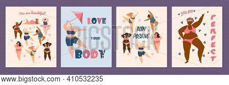 Body Positive Cards Set. Different Races Plus Size Women Dancing. Self Acceptance Concept. Flat Vect