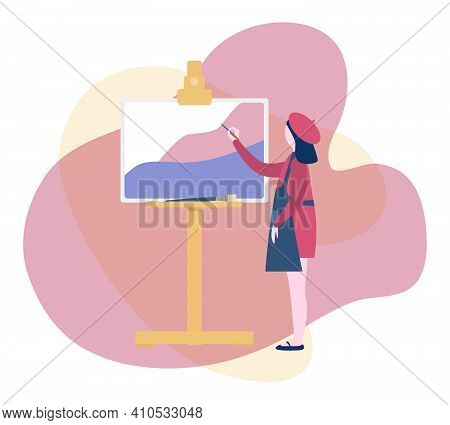 Flat Vector Illustration Of Girl In Beret And Apron Painting On Canvas. Art School Icon.