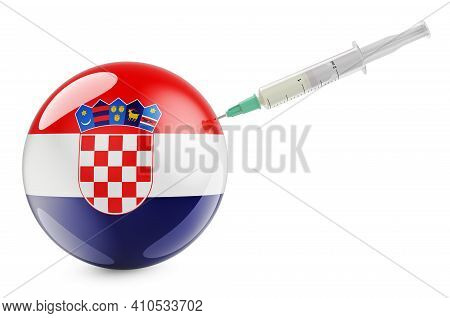 Syringe With Croatian Flag. Vaccination In Croatia Concept, 3d Rendering Isolated On White Backgroun