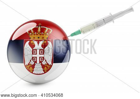 Syringe With Serbian Flag. Vaccination In Serbia Concept, 3d Rendering Isolated On White Background