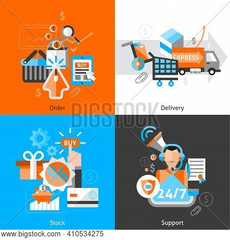 E-commerce Design Concept Set With Order Delivery Stock Support Flat Icons Isolated Vector Illustrat