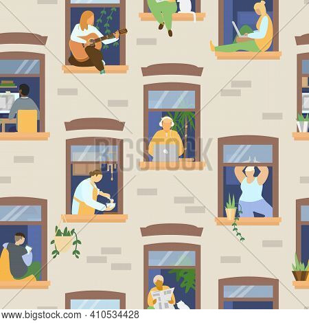 People In Windows Staying At Home And Doing Different Activities: Studying, Playing Guitar, Working,