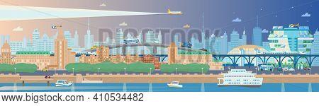 Long Horizontal Evening Summer Cityscape With Embankment, Boats, Ferry, Bullet Trains, Rail Ways, Bu