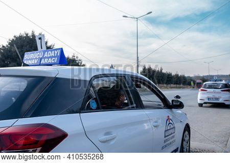 Kemerburgaz, Istanbul, Turkey - 02.18.2021: Close Up Of A Driving Test Car Which Is About To Move An