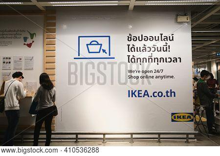 Bangkok, Thailand - Sep 20, 2020: Ikea Store Interior, We're Open 24-7 Shop Online Anytime Ikea.co.t