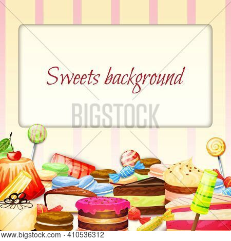 Sweets Food Background With Fresh Chocolate Cakes Muffins Icecream Vector Illustration
