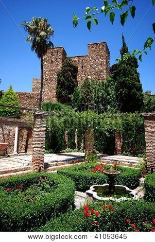 Castle gardens, Malaga, Andalusia, Spain.