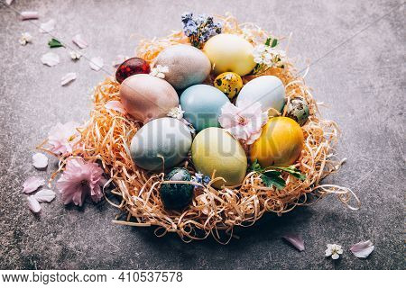 Easter Eggs Dyed With Natural Ingredients From Red Cabbage, Onion, Spinach, Berries, Turmeric, Coffe