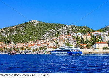 Hvar, Croatia - October 2, 2011: View Of Jadrolinija Ferry With Hvar Island In The Background