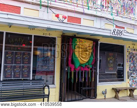 New Orleans, La - February 8: The Maple Leaf Bar Decorated For Mardi Gras On February 8, 2021 In New
