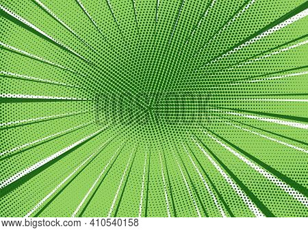 Abstract Retro Comic Background With Bright Green Radial Dotted Halftone And Circle Of Dark And Ligh
