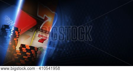 Vegas Slot Machine Gambling Concept Banner With Right Side Copy Space 3d Rendered Illustration. Slot