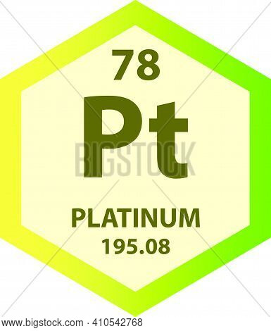 Pt Platinum Transition Metal Chemical Element Vector Illustration Diagram, With Atomic Number And Ma