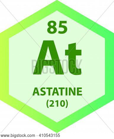 At Astatine Halogen Chemical Element Vector Illustration Diagram, With Atomic Number And Mass. Simpl