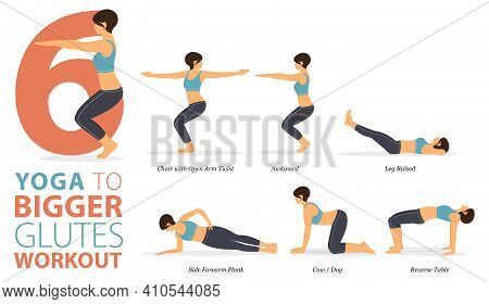 Infographic 6 Yoga Poses For Workout In Concept Of Glutes Workout In Flat Design. Women Exercising F