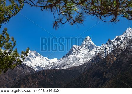 Beautiful Landscape Of Himalayas Mountains. Everest Base Camp Trek. Mount Ama Dablam.