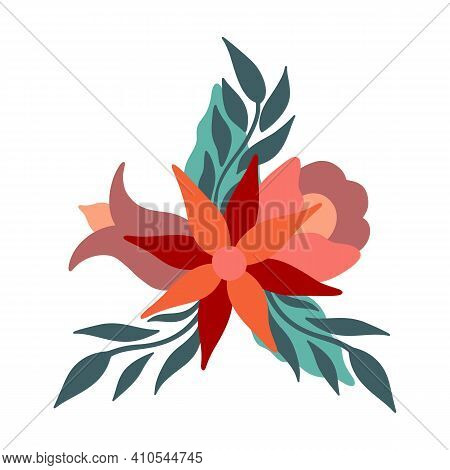 Abstract Floral Arrangement For Greeting Card Or Invitation. Vector Flowers In Modern Scandinavian S